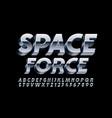 silver emblem space force chrome 3d font vector image