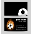 Soccer black business card template vector image vector image