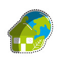 sticker green house with leaf and earth planet vector image vector image