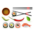 sushi japanese seafood set with fresh rolls and vector image