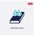 two color book and glasses icon from education vector image vector image