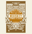 whiskey label with floral details vector image vector image