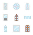 window aperture icons set cartoon style vector image vector image