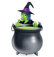 witch and cauldron cartoon vector image vector image