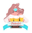 woman in medical mask holding beer mugs vector image vector image