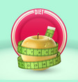 yellow apple green measuring tape dish diet vector image vector image
