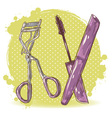 Make-up eyelash curler and mascara isolated card vector image