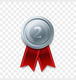 2 place winner silver medal award ribbon vector image vector image