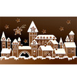 advent calendar with gingerbread town vector image vector image
