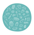 bakery products and baking tools line art label vector image