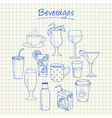 beverages doodles squared paper vector image vector image