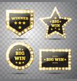 big win glowing banner winner sign vector image