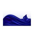 blue satin wave deep blue silk background vector image