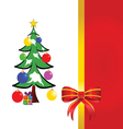 bow red with christmas tree vector image vector image