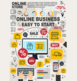 business online infographic linear vector image