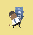 businessman carry pile of debt tax and bill vector image vector image