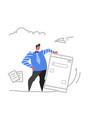 businessman holding smartphone online mobile vector image vector image