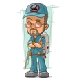 Cartoon bearded exterminator in blue uniform vector image