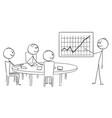 cartoon of businessman presenting good financial vector image