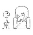 cartoon of man sitting on ground because a cat is vector image