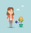 caucasian business woman watering money flower vector image vector image