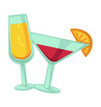 champagne and martini glasses with drinks isolated vector image vector image