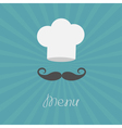 Chef hat and big mustache Menu card Flat design vector image vector image