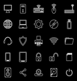 Computer line icons on black background vector image