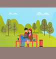 couple sitting in park man and woman relaxing vector image vector image