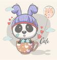 cute panda with balloons vector image vector image