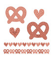 cute pretzel cartoon with smiling face and heart vector image