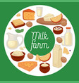 dairy products milk farm cheese and eggs sour vector image