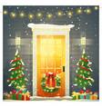 decorated christmas front door background vector image