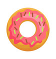 donut in pink glaze with chocolate sprinkles icon vector image