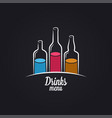 drinks menu bottles vodka wine and whiskey vector image