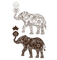 elephant decorated with indian ornament vector image vector image