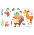 forest animals hiking and backpacking adventures vector image