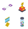 game achievement isometric icons pack vector image