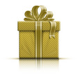 Golden gift box with ribbon and bow vector image