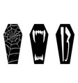 halloween coffin black and white graphic ic vector image vector image