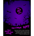 Halloween party flyer template - purple and black vector image vector image
