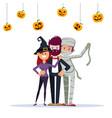 halloween party group friends in halloween vector image vector image