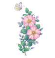 hand drawn dog-rose branch and flying butterfly vector image vector image
