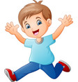happy boy cartoon vector image