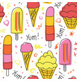 ice cream seamless pattern hand drawn cute vector image vector image