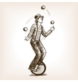 Juggler man on retro old unicycle sketch vector image vector image
