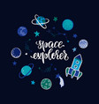 lettering poster space explorer in space with vector image