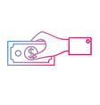 line businessman hand with bill cash money vector image