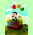 man carrying heart shaped balloons and red roses vector image