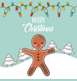 merry christmas gingerman tree snow lights winter vector image